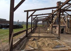 Reconstruction of wooden barracks.  Photo courtesy of Auschwitz-Birkenau Memorial and Museum