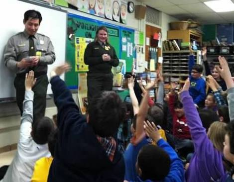 Ellis Island rangers in a fourth grade classroom.  Photo courtesy of the National Park Service