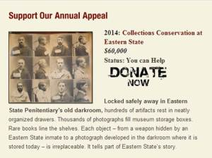 Eastern State Penitentiary's fundraising strategy highlights one specific project each year.  Photo courtesy of easternstate.org