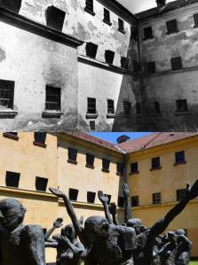 Exterior of Sighet prison before and after restoration work.  Photos courtesy of memorialsighet.ro and Flickr user Prof. Mortel