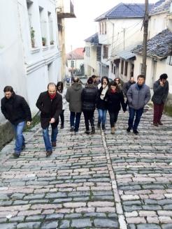 On the cobbled streets of Gjirokastra. | Rrugët me kalldrëm në Gjirokastër.